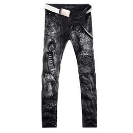 Wholesale Black Denim Print Legging - Wholesale-2016 new fashion straight leg jeans long men male printed denim pants cool cotton designer good quality brand trousers MJB014