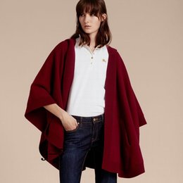 Wholesale Quality Poncho - 2017 Luxury Brand Capes Women Fashion Batwing Sleeve Capes Ladies Wool Cashmere Blend Hooded Poncho TOP Quality