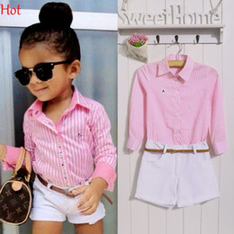 Wholesale Shirt Blouse European - New Baby Kids Girls Clothes Two Piece Cute Striped Shirt Solid Shorts Outfits Set Blouse Casual Suits Kid Child Clothing Set New SV019409