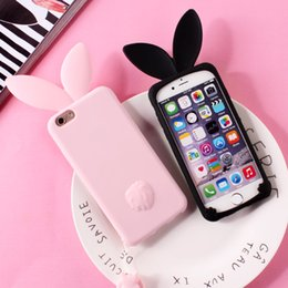 Wholesale Ear Dirt - 3D Cute Rabbit Ear Case For iPhone 7 7plus Soft Silicon For iPhone 6 6plus 6s 6splus 5 5S SE Cute Pink & Black Girl Cover