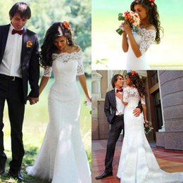 Wholesale Casual Off White Wedding Dresses - Country Wedding Dresses 2016 Mermaid Lace Sheer Off The Shoulder Half Sleeves Bridal Gowns Lace Up Gothic Casual Trumpet Brides Dress