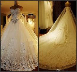 Wholesale Beaded Floral Veils - Luxury Crystal Wedding Dresses Lace Cathedral Lace-up Back Bridal Gowns 2017 A-Line Sweetheart Appliques Beaded Garden Free Sets Free Veil