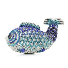 Wholesale Hollow Fish - Wholesale-blue fish animal shape diamond crystal clutch evening bag bigger size (88129A-B)