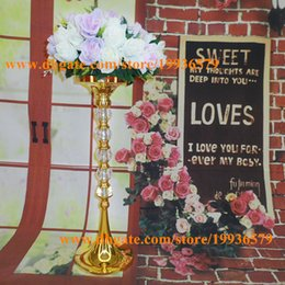 "Wholesale Tall Wholesale Wedding Vases - 24""Tall Metal Gold flower vase with shiny crystal ball for wedding event table Centerpiece stand"