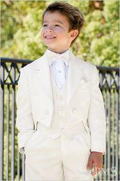 Wholesale Kids Zipper Ties - Wholesale- Custom Made Ivory Tailcoat Kids Tuxedos Handsome Primary Scholar Business Suits Boy Prom Suits (Jacket+Pants+Vest+Tie) K:678