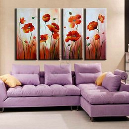Wholesale Oil Painting For Sale Unframed - Hand Painted Lily Tulips Flower Oil Painting On Canvas 4Pcs Art Sets Abstract Home Decoration Modern Wall For Living Room Sale