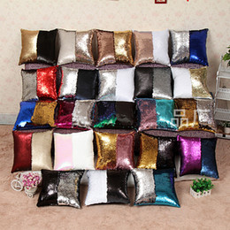 Wholesale Wholesale Pillow Shams - 2017 High-Density Sequin Pillow Cases Fashionable Cushion Covers Magical Color Changing Bright Pillow Shams Decorative Pillow Covers