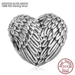 Wholesale Diy Jewelry Feathers - Fits Pandora Bracelets Angel Wing Heart Charm Beads Original 925 Sterling Silver Angelic Feathers Bead Diy Autumn Fine Jewelry
