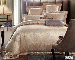 Wholesale Queen Sheet Set Gray - Golden camel satin jacquard bedding sets 4pcs 6pcs cover set bed luxury wedding be silk quilt cover cotton bed sheet pillowcases sale 5626