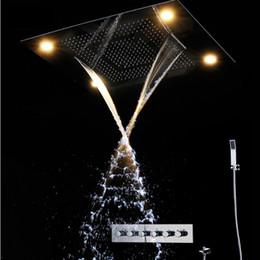 Wholesale Showerhead Set - Modern Luxury European Style Shower Set Large SUS304 5 functions Showerhead Thermostatic Mixer Waterfall Rainfall Bathroom Led Ceiling light