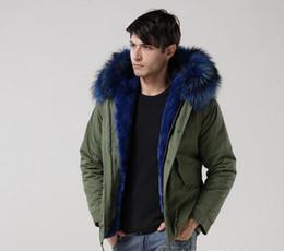 Wholesale Wholesale Cotton Spandex Hot Shorts - Hot sales Man furs Green jacket mini Parkas hood with blue colour real raccoon fur collar mr winter warm coat