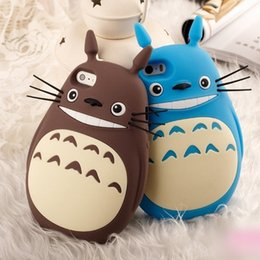 Wholesale Totoro Phone - 3D Cute Cartoon Case Totoro Cat Soft Silicone Back Cover Phone Cases For iphone 8 6 6s 7 plus Lovely Coque Opp Bag