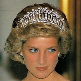 Wholesale Wedding Tiaras Free Shipping - Free Shipping Princess Diana Same ABS Pearl Crown Crystal Tiara Bridal Jewelry Wedding Accessories High Quality Real Photos Classic XN0308