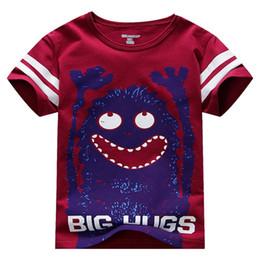 Wholesale Big Boys Shirts - little maven Children T-Shirts Baby Boy T Shirts Big Hugs Cartoon Baby Boy Clothes Tee Shirts Kids Short Sleeve Cotton