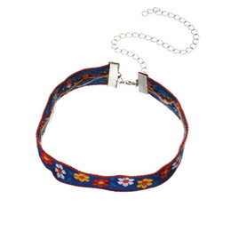 Wholesale Macrame Necklaces - Handmade DIY Bohemia Multicolored Flower Floral Design Chokers Vintage Embroidery Macrame Choker Necklace Simple Women Jewelry