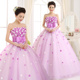 Wholesale Free Portrait Pictures - Ball Gown Quinceanera Dresses Free shipping flowers strapless pleat mesh light purple women ball gown Quinceanera Dresses