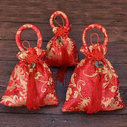 Wholesale Chinese Jade Tassels - Chinese wind wedding brocade handbag round jade pendant tassel wedding Bag Wedding Candy Box LZ165