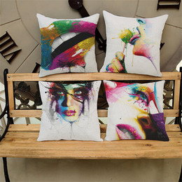 Wholesale Lips Throw Pillows - Creative Drawing Sweet Lip Cotton Linen Throw Pillow Case Cushion Cover Home Sofa Decorative 18 X 18 Inch