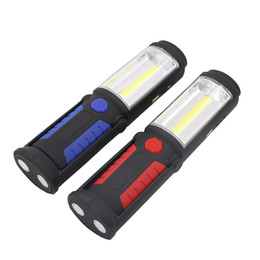 Wholesale Usb Mini Drive - New Multi-function USB Rechargeable LED Flashlight Torch Work Light Portable Stand COB Lanterns LED Torches with Magnetic HOOK 18650 Battery