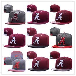 Wholesale Design Snapbacks - Free Shipping Men's Alabama Crimson Tide NCAA Snapback Hats In Black Color Reflective Design USA College Letter A Logo Adjustable Caps