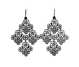 Wholesale Filigree Chandelier Earrings - Chantilly Lace Chandelier Style Filigree Fish Hook Dot Earwire Earrings