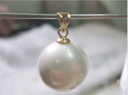 Wholesale South Sea Huge Pearl - Huge AAA 15-16mm South Sea White Shell Pearl Pendant Nceklace 14k