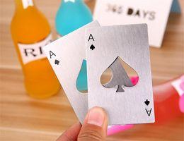 Wholesale Poker Shapes - New Creative Poker Card Shaped Bottle Opener Stainless Steel Beer Wine Soda Opener Bar Kitchen Tool DHL free
