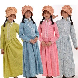 Wholesale girls renaissance dress - Kids Halloween Carnival Party Girls Costume Civil War Colonial Countryside Dress with Hat Reenactment Outfit 6-14 Years