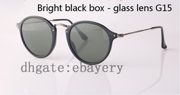 Wholesale Nylon Sunglasses - Best Quality Round Sunglasses Vintage Women Sunglasses UV400 Protection Brand Designer Sun Glass 49mm Nylon Frame Glass Lens With Box,Case
