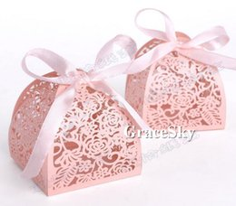 Wholesale Holiday Chocolate Box - 100pcs lot Free shipping Laser Cutting Flower rose design Paper Chocolate Candy Boxes for Birthday wedding anniversary Party Decoration