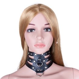 Wholesale Dog Collar Bdsm - 410*90mm Hollow Punk Black Leather Collar Adjustable Buttons Slave Dog Fetish Bondage BDSM Neck Strap Sex Product