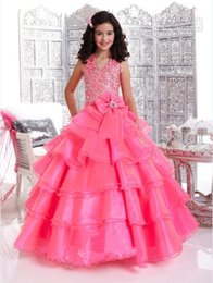 Wholesale Children Dance Images - Fashion Pink Halter Ball Gowns kids children Flower Girl Pageant Formal Dance Party Evening Prom Wedding Dresses custom made birthday gift