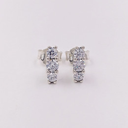 Wholesale Wholesale Sparkle Jewelry - Authentic 925 Sterling Silver Studs Sparkling Elegance Stud Earrings Fits European Pandora Style Jewelry 290725CZ