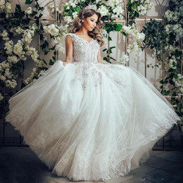 Wholesale Guipure Lace Dresses - 2018 Lace Wedding Ball Gown Bridal Dresses Guipure Appliques Dubai Bridal Gowns With Long Train Custom Made