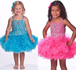 Wholesale Short Jeweled Dresses - 2016 Pink Turquoise Glitz Toddle Cupcake Pageant Dresses Jeweled Stones Little Girls Baby Instant Short Child Pageant Dresses HY1284
