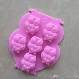 Wholesale Cookie Cup Mold - 30pc 3D Animal Owl Shape Chocolate Silicone Mold Bakeware Cake Tools Cute Owl Mould 6 Cups Cake Cookie Icecream Candy Molds 2105