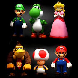 Wholesale Mario Minis - 6PCS Set Super Mario Action Figures Collection GCA Brothers Mini Party Figures Peach Toad Luigi Yoshi Donkey Kong PVC Action Figures Toy
