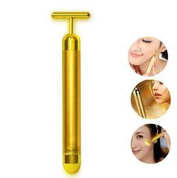Beleza dourada on-line-Tecnologia Do Japão 24 K Beleza Bar Golden Derma Roller Energia Rosto Massageador Cuidados Com A Beleza Vibração Massageador Facial Frete Grátis