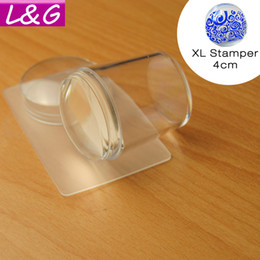Wholesale Silicone Nail Art - 2016 New XL 4cm Stamper Head Clear Jelly Silicone Nail Art Stamper Scraper with Cap Polish Print Stencil Manicure Stamping Tools