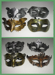 хэллоуин кремний Скидка Микс 4 стиль ретро греко-римская лиса бабочка танец фея мужская женщина маска Золотой / Серебряный Марди Гра Маскарад маски 50 шт. / лот