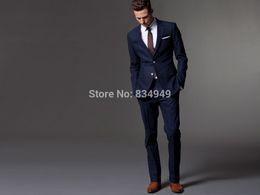 Wholesale Men Light Blue Suit Wedding - Custom Made Dark Blue Men Suit, Tailor Made Suit, Bespoke Light Navy Blue Wedding Suits For Men, Slim Fit Groom Tuxedos For Men