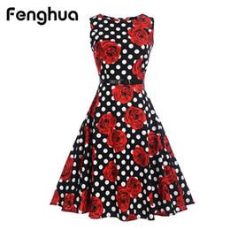 Argentina Al por mayor- Fenghua Women Summer Dress 2017 Casual Sexy Vintage corto A-Line Audrey Hepburn estampado floral vestidos de fiesta Vestidos de fiesta Suministro