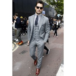 Wholesale Casual Costumes For Men - Fashion Casual Men Suit Set Slim Fit 2018 (Jacket+Pants+Vest) Custom Made Men Suits For Wedding Prom Business Groom Best Man Blazers Costume