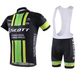 Vêtements de vélo vert en Ligne-2016 Tour De France Scott Maillots De Cyclisme Vert Couleur Manches Courtes Paded Bike Wear Séchage Rapide Respirant SIze XS-4XL Vélo Vêtements