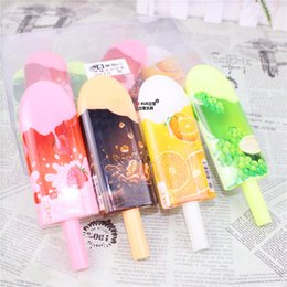 Wholesale Ice Cream Stationery - Wholesale-Hot Sale Popsicle Shape Gel Pen Cartoon Ice Cream Pens Office School Supplies Creative Korean Stationery Caneta Papelaria