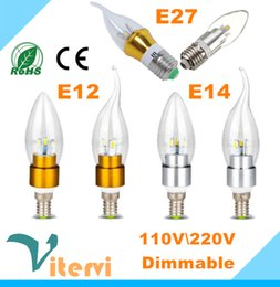 Wholesale Dimmable Led Candle Bulb 3w - 3W 5W 7W Dimmable Led candle Light bulb E14 E12 E27 110V 220V crystal droplight light 360 angle indoor led light