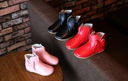 Wholesale Shoes Zipper Flower - 2016 pretty bows girl fashion Martin boots zippers BB spring & autumn casual shoes cheap kids PU boots 5pair 10pcs B1