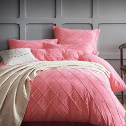 Wholesale Fleece Bedding Sets - Wholesale- Winter crystal velvet bedding set 2017 fleece super warm duvet cover grid bed sheet king pink green soft bedding home textile