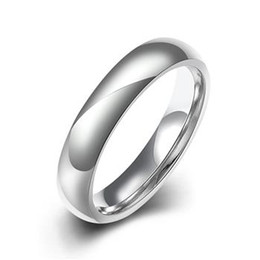 Wholesale Solid Silver Rings Men - High quality 4MM Titanium Band Simple Glaze Wedding 316L Stainless Steel Solid Ring Men Women TGR002-A-8
