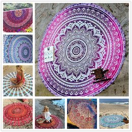 Wholesale Beach Towels Beige - Chiffon Round Beach Towel 150*150cm 59*59'' Bath Towel Decor Geometric Printed Bath Towel Summer Style Shawl Tippet 14 Patterns Sarong